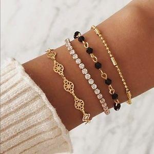 Black & Gold Crystal Bracelet - Set of 4